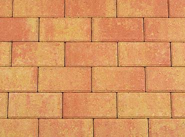Betonstraatsteen 6 cm terracotta/geel komo