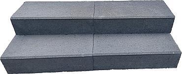 Traptrede 60x30x15 cm indus black kleurecht met facet