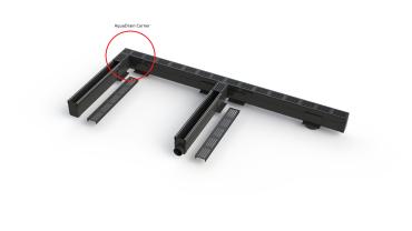 Aquadrain corner 6,5 cm black grating
